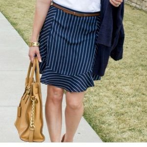 J Crew S 4 Navy Ruffle striped skirt